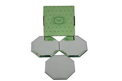 Beveled Glass Octagonal  Mirrored Coasters Set of 3 NEW