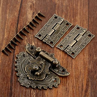 Classic Carved Flower Box Latch Hasp & 2pc Hinges For Cabinet Drawer Jewelry Box