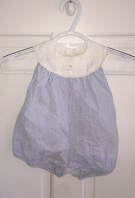 Vintage 50's Baby Boys Blue White 1 Pc. Romper Outfit by A-Lad-N Togs Large Mint