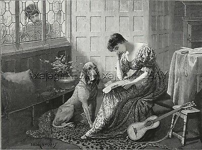 Dog Bloodhound & Woman Awaiting Return of Soldier, Large 1880s Antique Print