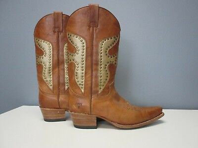 FRYE Light Brown Leather Studded Mid Calf Casual Cowboy Boots Sz 8 M  B3952