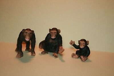 Schleich Chimpanzee Family Adult Baby 3 Pc Lot Wild Animal Figurine Model
