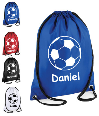 Personalised Drawstring FOOTBALL Bag School Gym Kit PE Running Sports Girls Boys