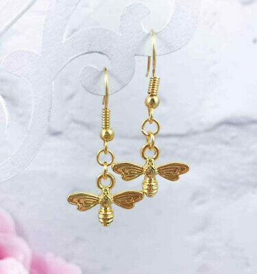 Dainty Gold Bee EARRINGS Dangle Drop HOOK Honey BUMBLE Lucky Charm SIMPLE Nature