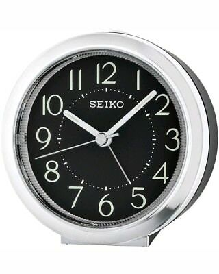 Seiko Round Black Dial Silent Sweep Bedside Desk Snooze Alarm Clock QHE146A