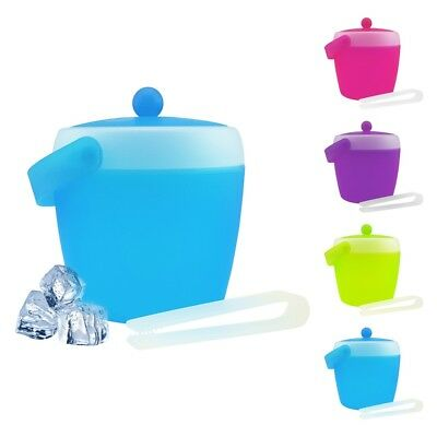 Plastic Ice Cube Bucket With Tongs  Champagne Wine Party Bar Cooler Bbq Picnic