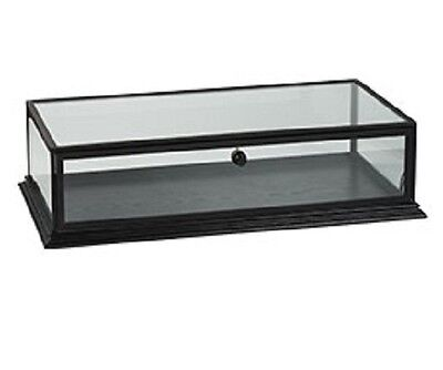 "Countertop Wood Display Case Black Clear Top View 31 ¾"" W x 18"" D x 8"" H Locking"
