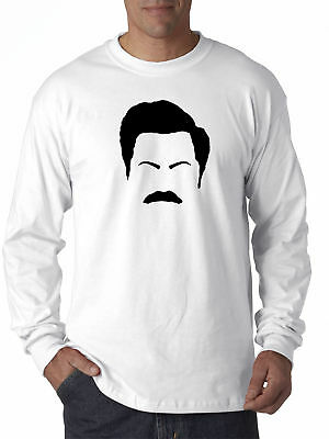 New Way 874 - Long-Sleeve T-Shirt Ron Swanson Silhouette Facial Face Parks Rec