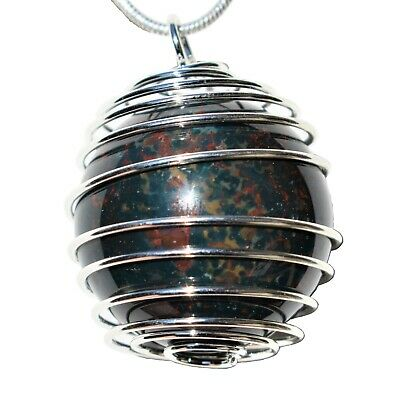 "CHARGED Bloodstone Hand-Polished Sphere Perfect Pendant™ + 20"" Silver Chain"