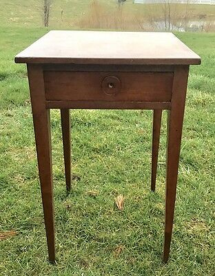 RARE Antique SHAKER CHERRY SPLAY-LEG ONE-DRAWER SIDE TABLE 1800's