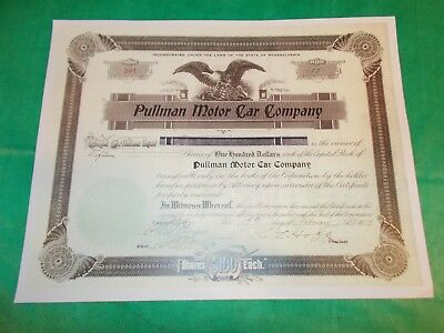 Pullman Motor Car Company Copy> 15 Shares Stock Certificate #20 Issued 1/19/1917