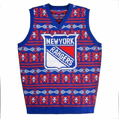 New York Rangers NHL 2015 Ugly Knit Vest Sweater - Klew