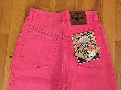 Vtg San Francisco Riding Gear Jeans 80s Pink Stripe Zip Ankle High Waist 5 NWT