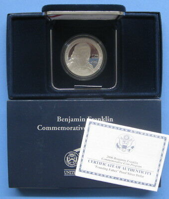 2006 Franklin Founding Father Commemorative Proof Silver Dollar with Box & COA