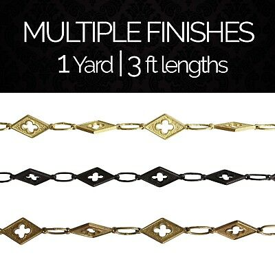 Solid Brass Decorative Motif Chandelier Lighting Chain #48 | (1 yard or 3 ft)