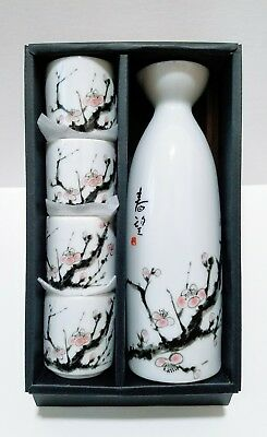 Boxed Sake Flask & Cups Set with Cherry Blossom Design *Purchased in Japan*