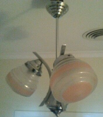 Vintage 1930s 40s Art Deco 3 Branch Chrome & frosted pink glass Pendant Light