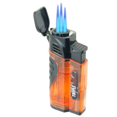 Triple Jet Torch Lighter Adjustable Windproof Butane Refillable /w Puncher 432T2
