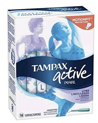Tampax Pearl Motionfit Active Plastic Tampons Lites Light Unscented (18 Count)