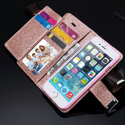 Bling Glitter Magnetic Flip Cover Wallet Leather Case For iPhone Samsung S10+