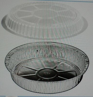 """9"""" Round Foil Take-Out Pan w/Clear Dome Lid 100/PK -Diposable Aluminum Container"""