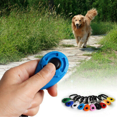 1Pc Mini Dog Cat Pet Click Clicker Training Trainer Aid Guide With Wrist Strap