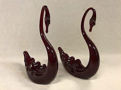 Pair Of Vintage Red Art Glass Whitefriars Swans Unsigned Made In England