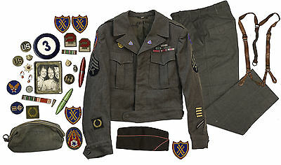 World War II Full Uniform Worn by a Corporal in The 3rd Army