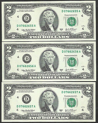 2003A $2 *CLEVELAND* 3 CONSECUTIVE! CRISP UNCIRCULATED! Old US Paper Money!