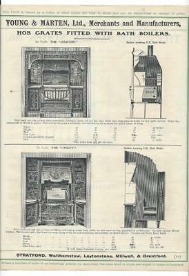 Vintage Architectural Advert'Young and Marten Stratford'Hobs Grates Tile Prices.