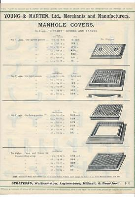 Vintage Architectural Advert ' Young and Marten Stratford 'ManHole Covers /Pipes