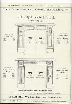 Vintage Architectural Advert ' Young and Marten Stratford 'Chimney Pieces.