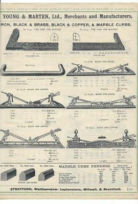 Vintage Architectural Advert ' Young and Marten Stratford 'Fire Dogs and Curbs.