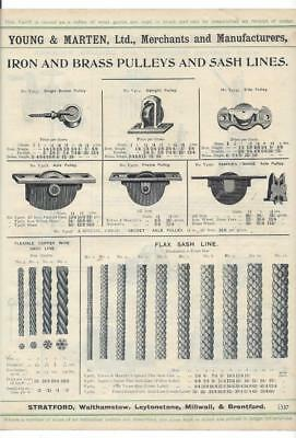 Vintage Architectural Advert ' Young and Marten Stratford ' Sash Pulleys-Drills.