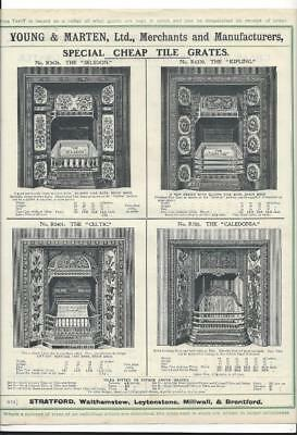 Vintage Architectural Advert ' Young and Marten Stratford 'Cheap Tile Grates.