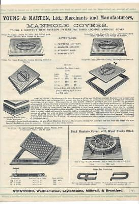 Vintage Architectural Advert ' Young and Marten Stratford 'Cast ManHole covers.
