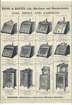 Vintage Architectural Advert Young and Marten Stratford Coal Boxes Dogs Brasses.