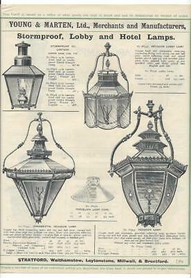 Vintage Architectural Advert'Young and Marten Stratford'Lobby /Hotel Lamps/Arc.