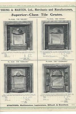 Vintage Architectural Advert ' Young and Marten Stratford 'Tile Grates Surrounds