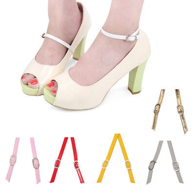 1 Pair of Colored Leather Shoe Straps Band For Holding Loose High Heeled Shoes