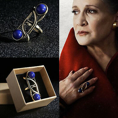 US SHIP Star Wars The Last Jedi Leia Princess Ring Cosplay Vintage Sapphire Ring