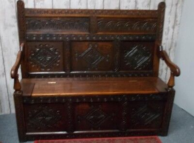 17th Century Carved Oak Settle Storage Box Seat Bench 146 cms Wide 126 cms High