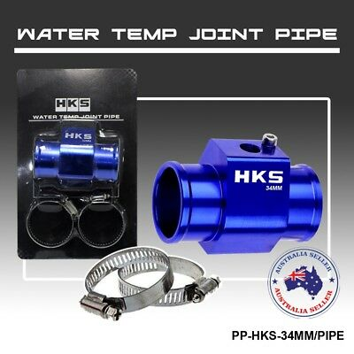 Universal Water Temp Gauge Joint Pipe Sensor Radiator Hose Adapter Blue 34mm