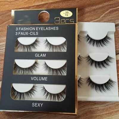 3Pairs 3D Natural Eye Lashes Makeup Handmade Thick False Fake Cross Eyelashes TU
