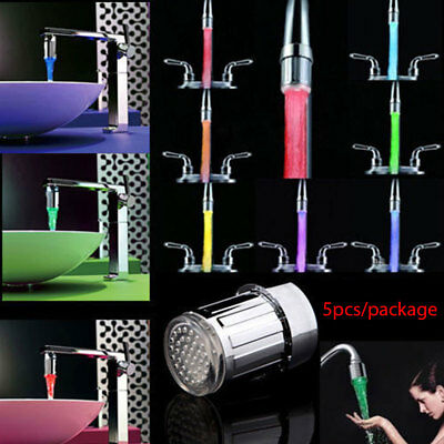 5pcs LED Water Faucet Stream Light Glow Shower Stream Tap Bathroom New