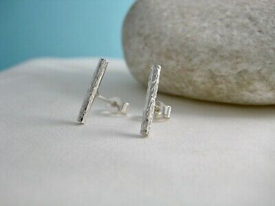 Sterling Silver 925 Sparkly Hammered Bar Ear Stud Earrings 15mm Handmade In Uk