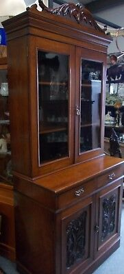 Victorian Carved Walnut Glazed Library Bookcase Display Cabinet