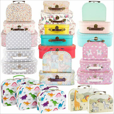 Set of 3 Mini Suitcases Vintage Floral Kids Storage Boxes Retro School Suitcase