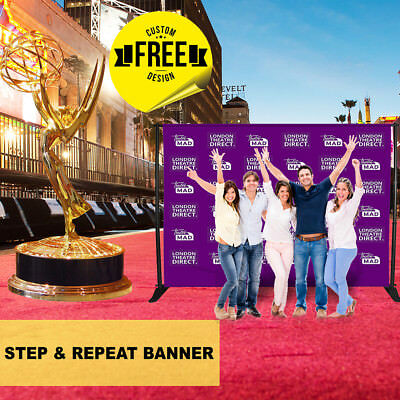Business Sign - 10' W 8' H Custom Print -Step and Repeat Banner Stand Backdrop