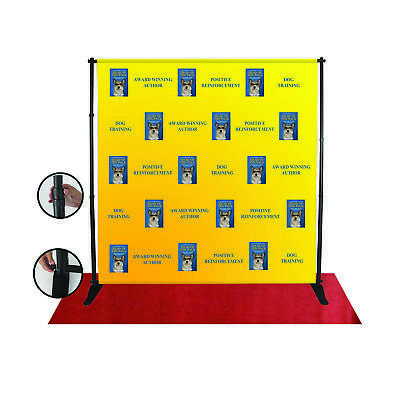 Step and Repeat 8'x8' Backdrop - Fabric Print and Carry Bag INCLUDED Telescopic